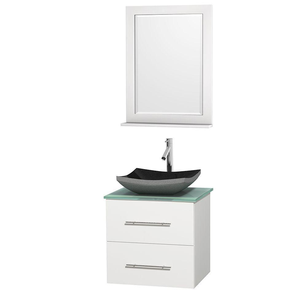 Meuble simple Centra 24 po. blanc, comptoir verre vert, lavabo granit noir, miroir 24 po.