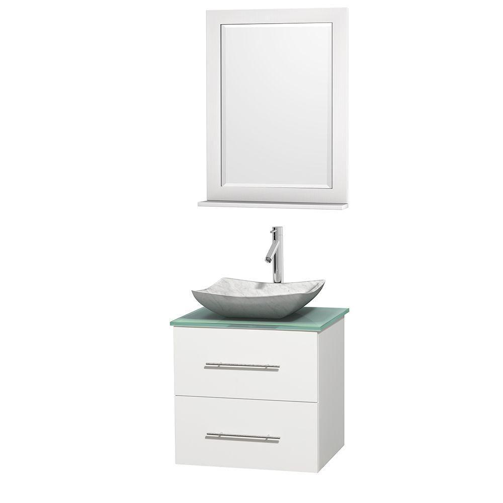 Meuble simple Centra 24 po. blanc, comptoir verre vert, lavabo blanc Carrare, miroir 24 po.