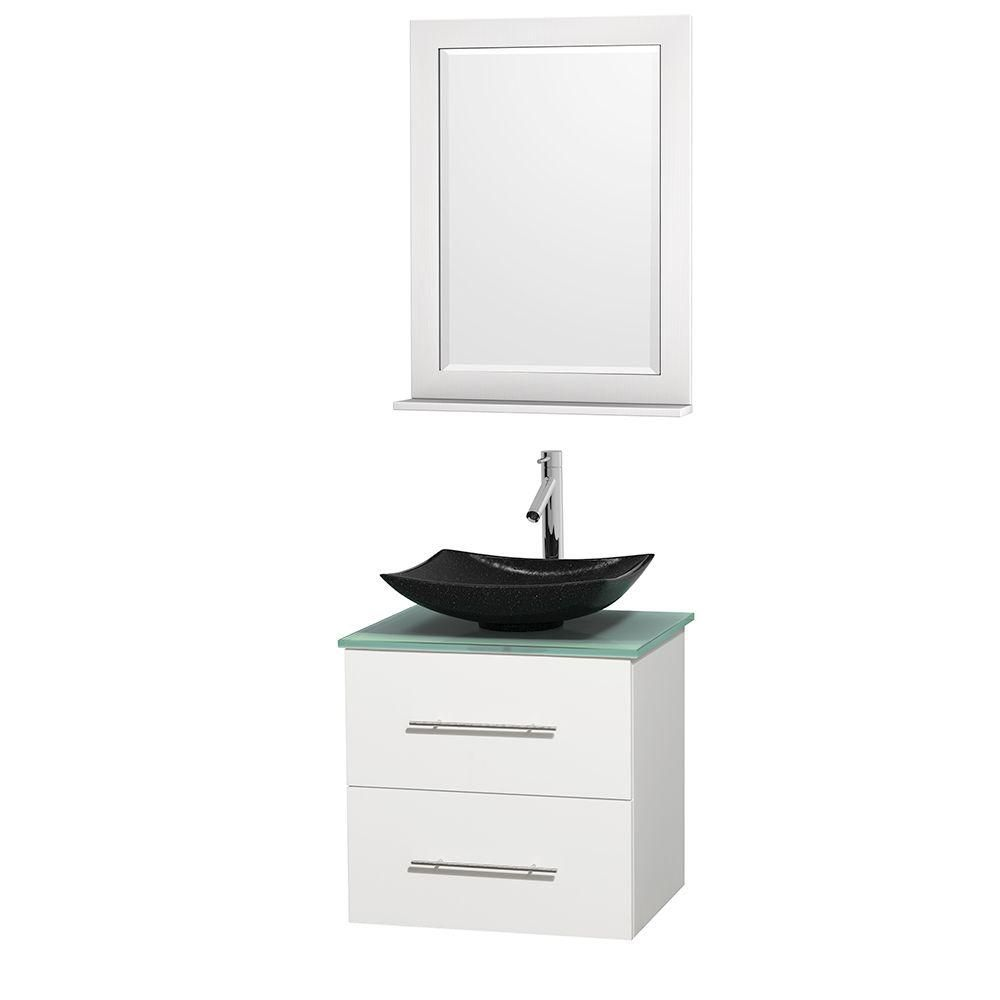 Centra 24-inch W Vanity in White with Glass Top with Black Basin and Mirror