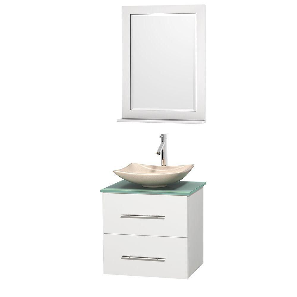 Centra 24-inch W Vanity in White with Glass Top with Ivory Basin and Mirror