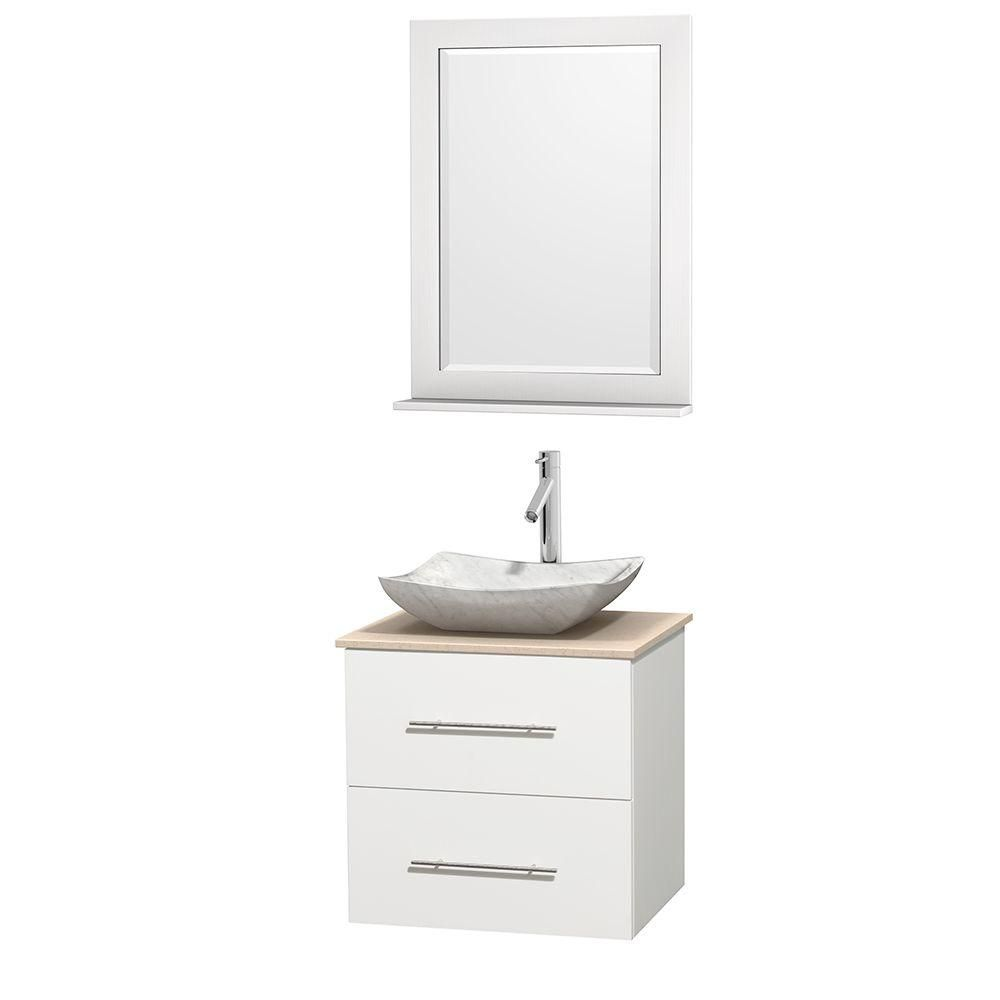 Wyndham Collection Meuble simple Centra 24 po. blanc, comptoir marbre ivoire, lavabo blanc Carrare, miroir 24 po.