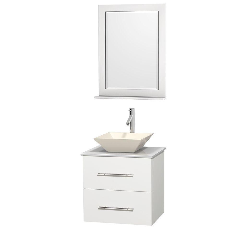 Wyndham Collection Meuble unique Centra 24 po. blanc, comptoir solide, lavabo porcelaine bone, miroir 24 po.