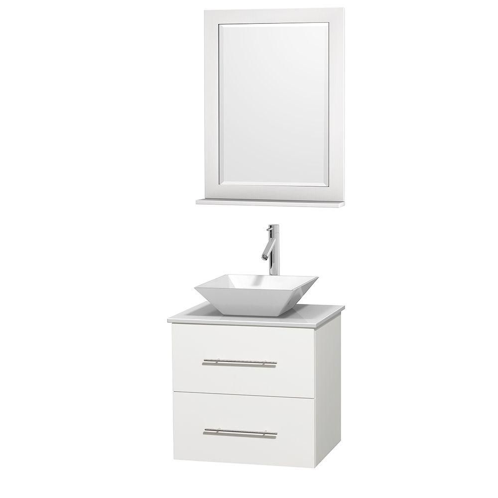 Centra 24-inch W Vanity in White with Solid Top with White Basin and Mirror