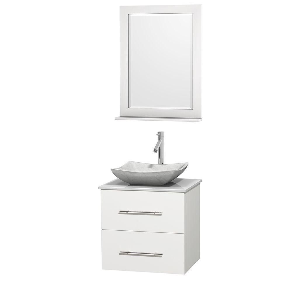 Meuble simple Centra 24 po. blanc, comptoir solide, lavabo blanc Carrare, miroir 24 po.