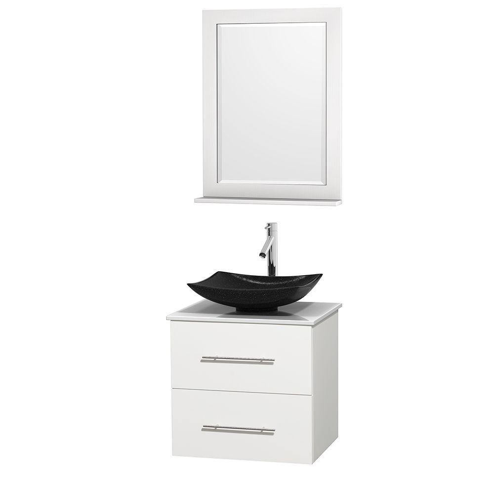Meuble simple Centra 24 po. blanc, comptoir solide, lavabo granit noir, miroir 24 po.