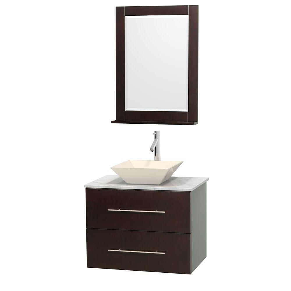 Centra 30-inch W Vanity in Espresso with White Top with Bone Basin and Mirror