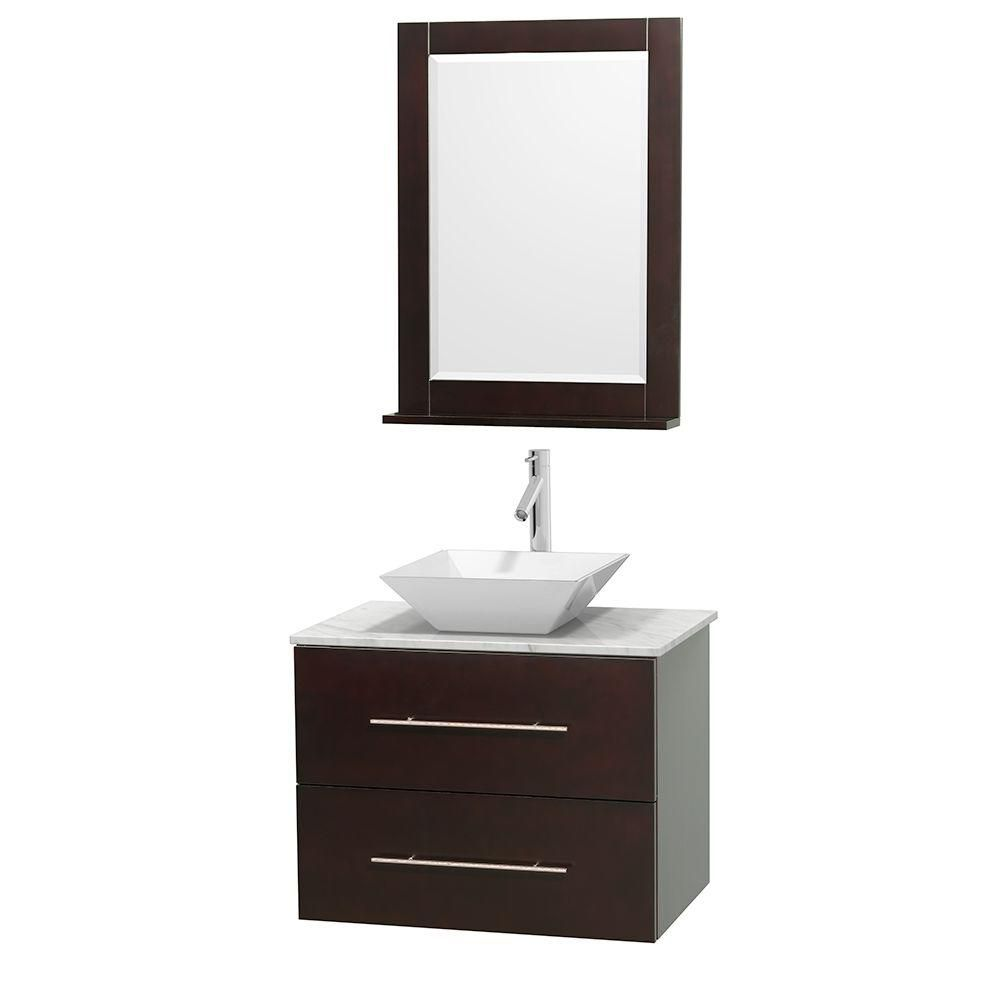 Centra 30-inch W Vanity in Espresso with White Top with White Basin and Mirror
