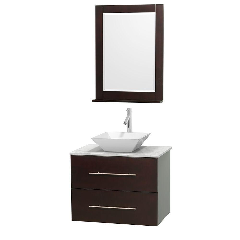 Meuble unique Centra 30 po. espresso, comptoir blanc Carrare, lavabo porcelaine blanche, miroir 2...