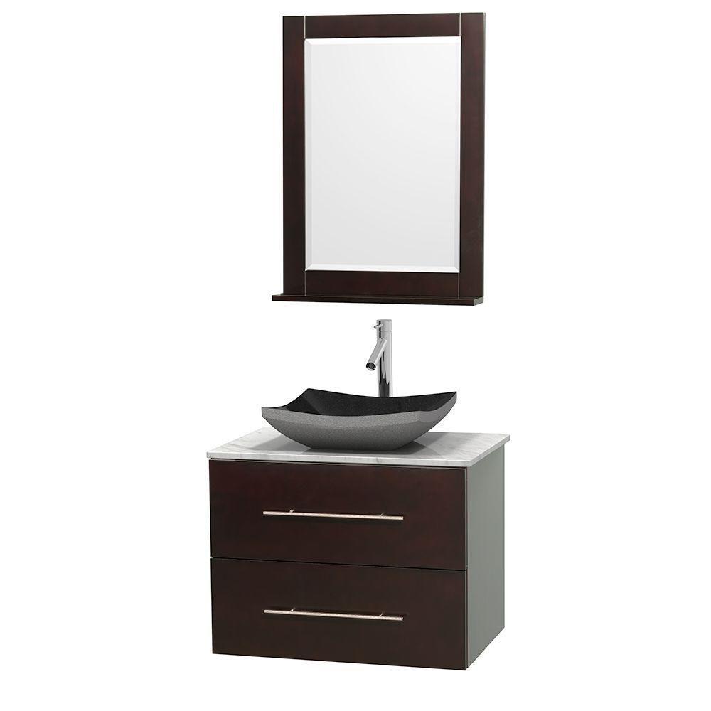 Meuble simple Centra 30 po. espresso, comptoir blanc Carrare, lavabo granit noir, miroir 24 po.
