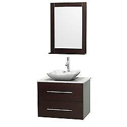 Wyndham Collection Centra 30-inch W 1-Drawer 1-Door Wall Mounted Vanity in Brown With Marble Top in White With Mirror