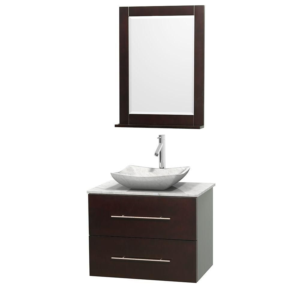 Meuble simple Centra 30 po. espresso, comptoir blanc Carrare, lavabo blanc Carrare, miroir 24 po.