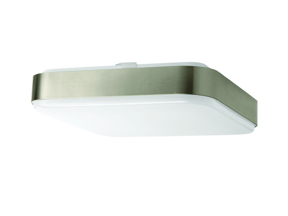 14-inch Brushed Nickel Square Integrated LED Flushmount Light Fixture - ENERGY STAR®