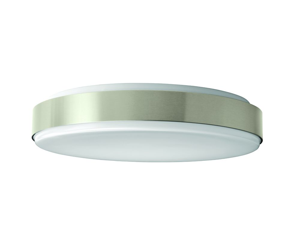 Dia 15-inch Round Integrated LED Flushmount Ceiling Light Fixture in White and Brushed Nickel - ENERGY STAR®
