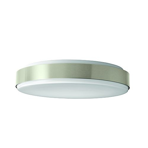 Hampton Bay Dia 15-inch Round Integrated LED Flushmount Ceiling Light Fixture in White and Brushed Nickel - ENERGY STAR®