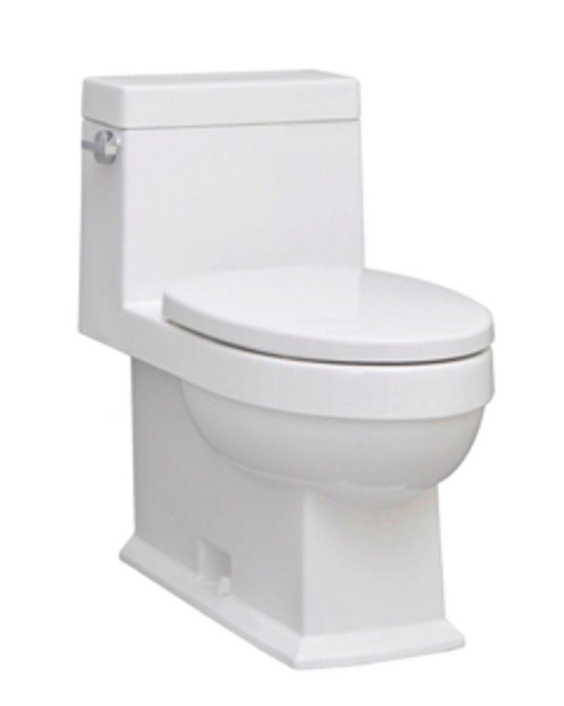The Karo 1-piece 4.8 LPF Single Flush Elongated Bowl Toilet in White