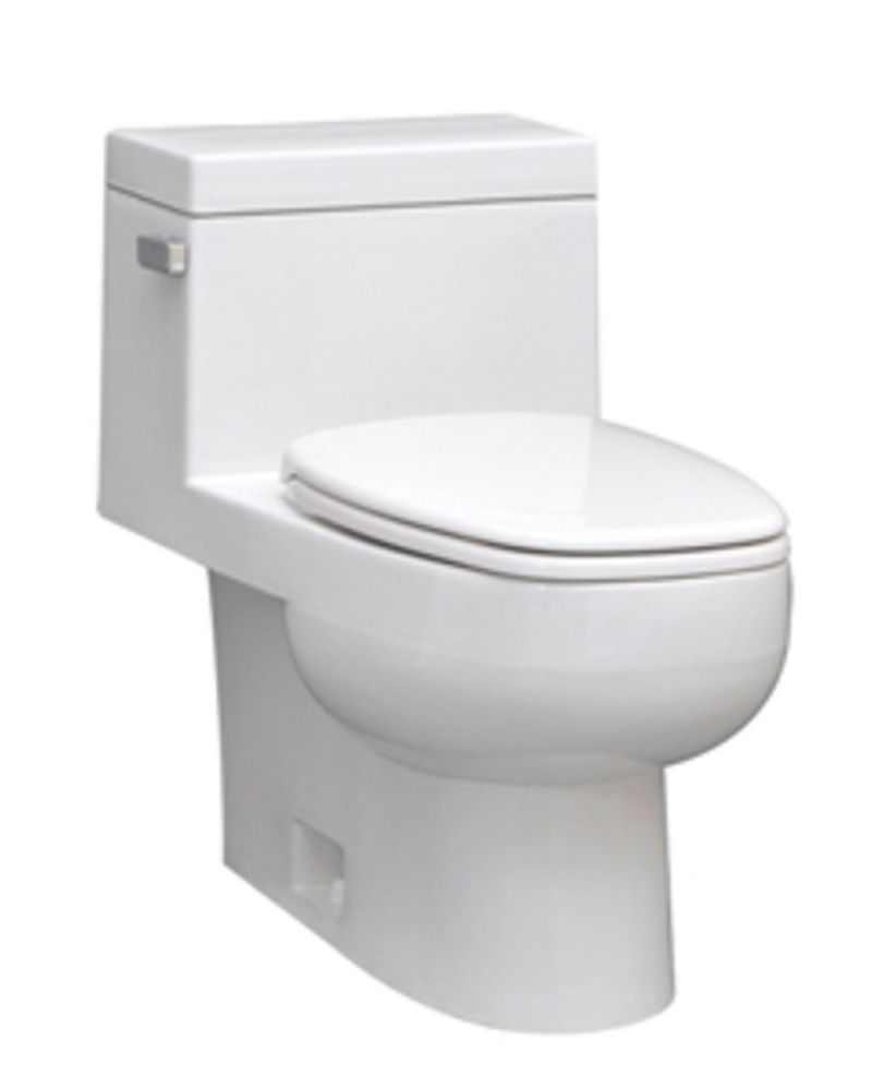The Vista 1-piece 4.8 LPF Single Flush Elongated Bowl Toilet in White