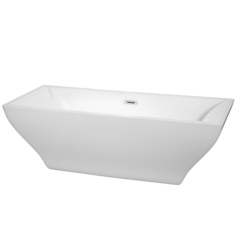 Wyndham Collection Maryam 70.75-inch Acrylic Flatbottom Centre Drain Soaking Tub in White with Polished Chrome Trim