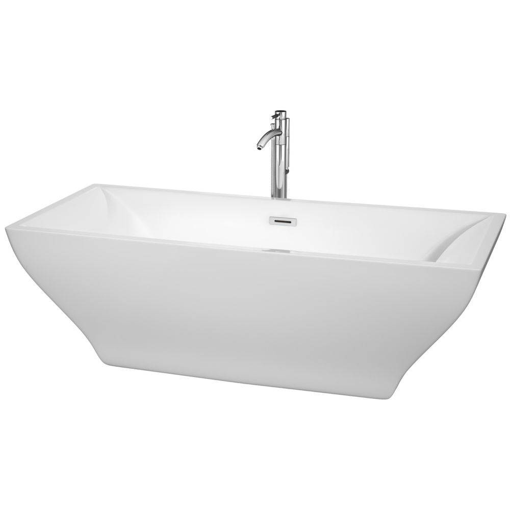 Wyndham Collection Maryam 70.75-inch Acrylic Centre Drain Soaking Tub in White with Chrome Trim & Floor Mounted Faucet
