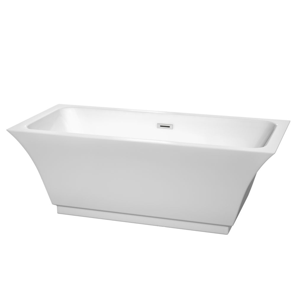 Wyndham Collection Galina 67-inch Acrylic Flatbottom Centre Drain Soaking Tub in White with Polished Chrome Trim