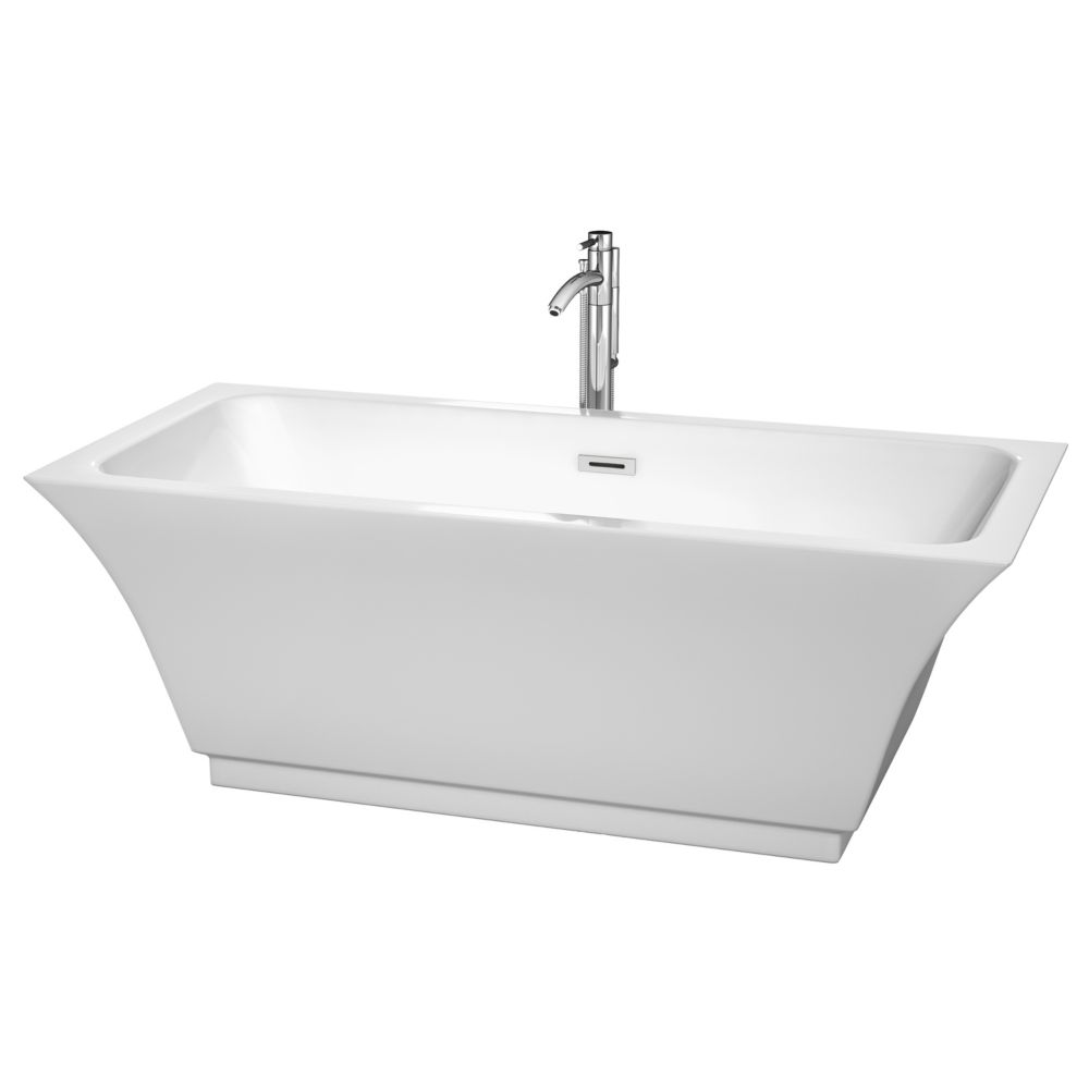 Wyndham Collection Galina 67-inch Acrylic Centre Drain Soaking Tub in White with Chrome Trim and Floor Mounted Faucet