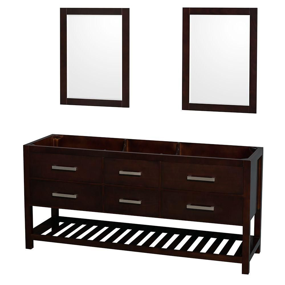 Natalie 72-Inch  Double Vanity Cabinet with Mirrors in Espresso