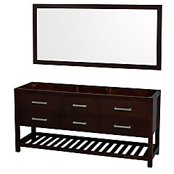 Wyndham Collection Natalie 72-inch  Double Vanity Cabinet with Mirror in Espresso