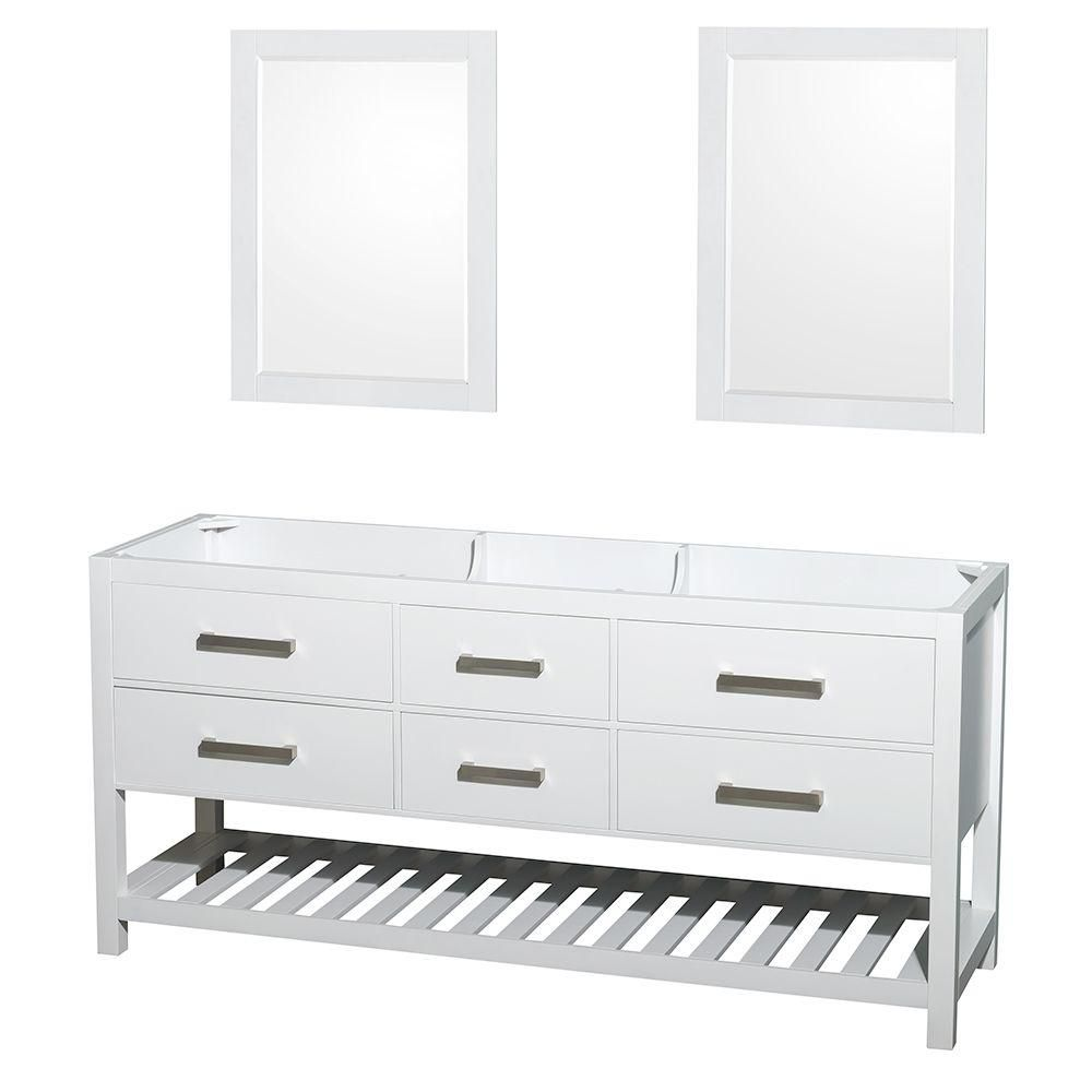 Wyndham Collection Natalie 72-Inch  Double Vanity Cabinet with Mirrors in White