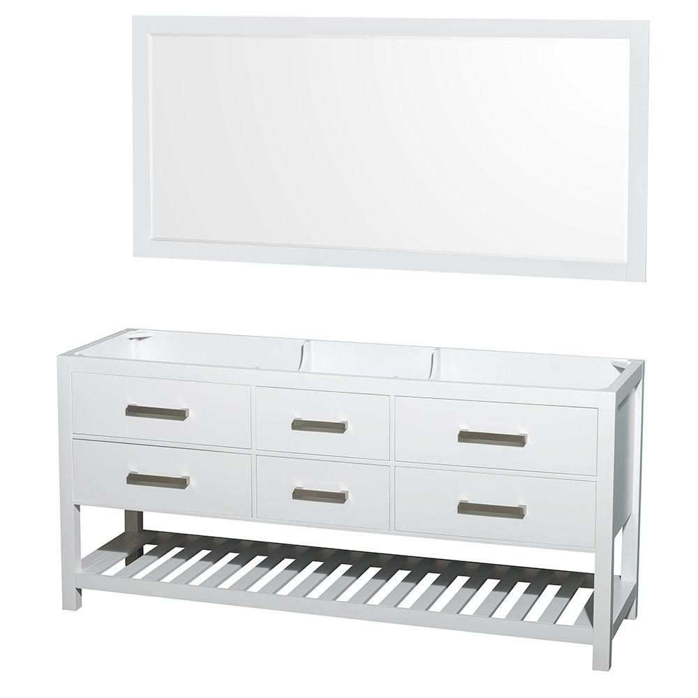 Wyndham Collection Natalie 72-Inch  Double Vanity Cabinet with Mirror in White