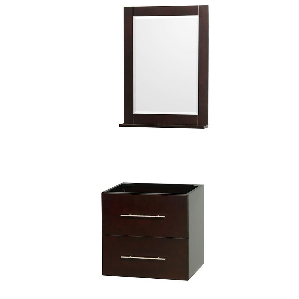 Meuble unique Centra 24 po. espresso sans comptoir ni lavabo, un miroir 24 po.