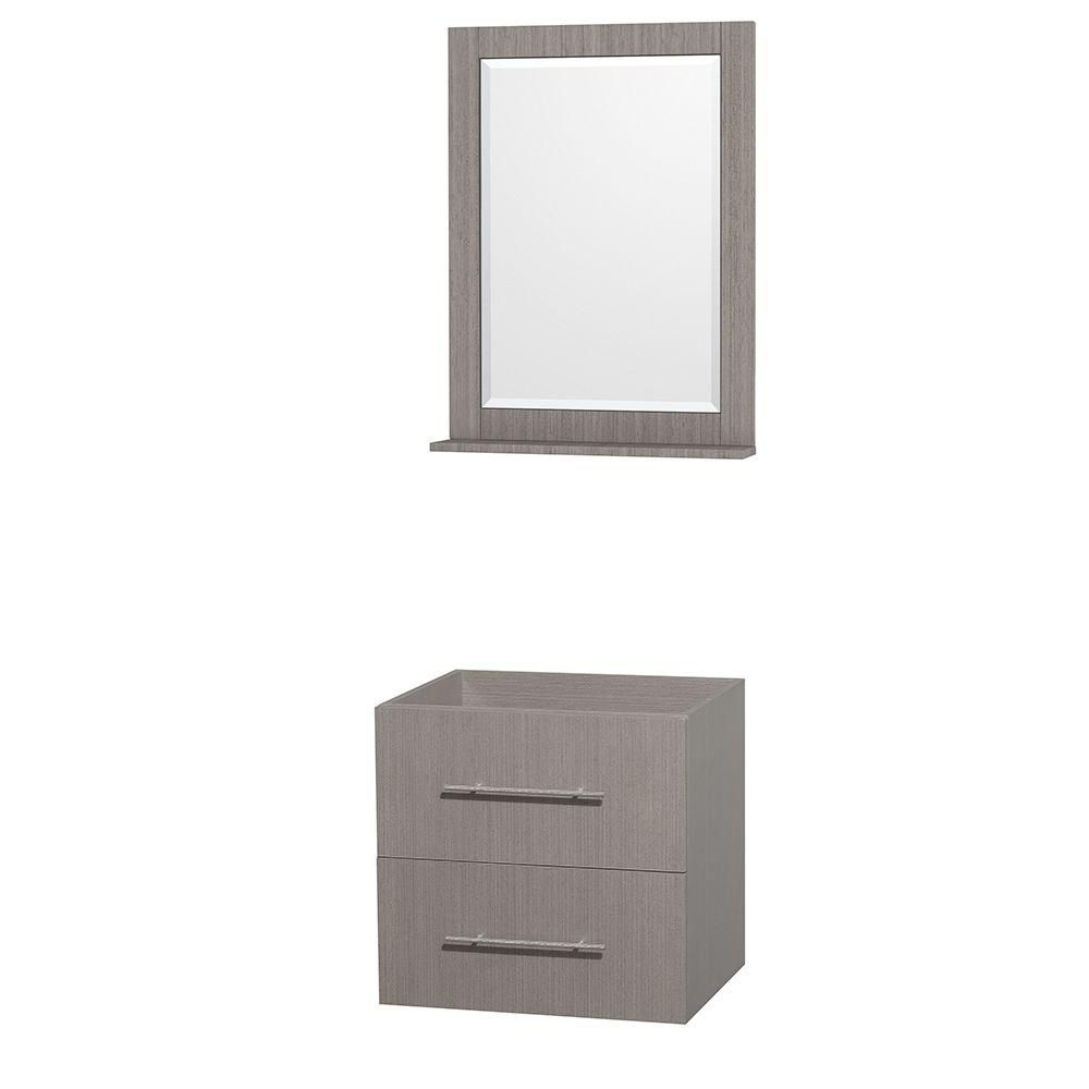 Centra 24-Inch  Vanity Cabinet with Mirror in Grey Oak