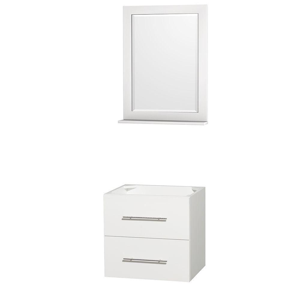 Meuble unique Centra 24 po. blanc sans comptoir ni lavabo, un miroir 24 po.