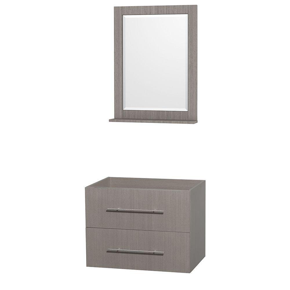 Centra 30-Inch  Vanity Cabinet with Mirror in Grey Oak