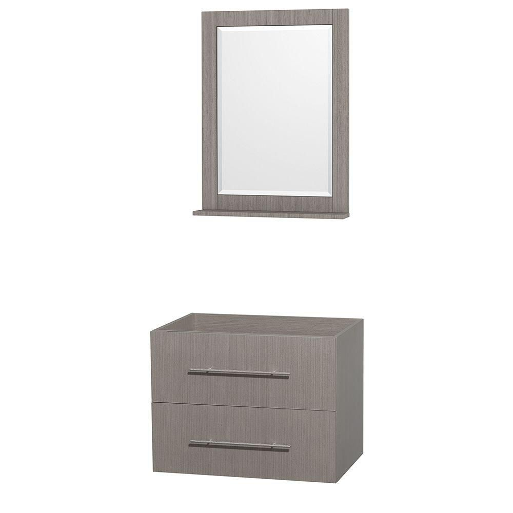 Wyndham Collection Centra 30-Inch  Vanity Cabinet with Mirror in Grey Oak
