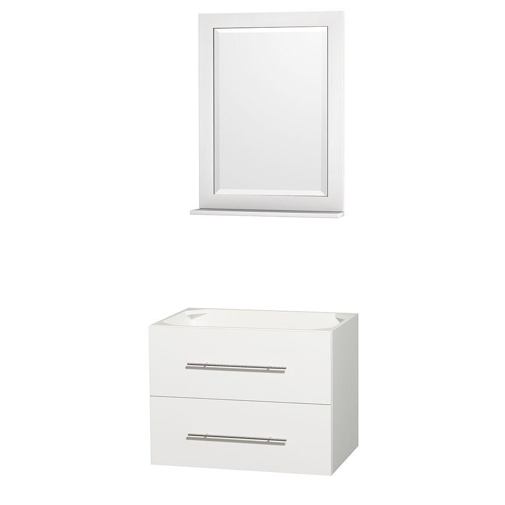 Centra 30 In. Single Vanity in White and No Top and No Sink and 24 In. Mirror WCVW00930SWHCXSXXM24 in Canada