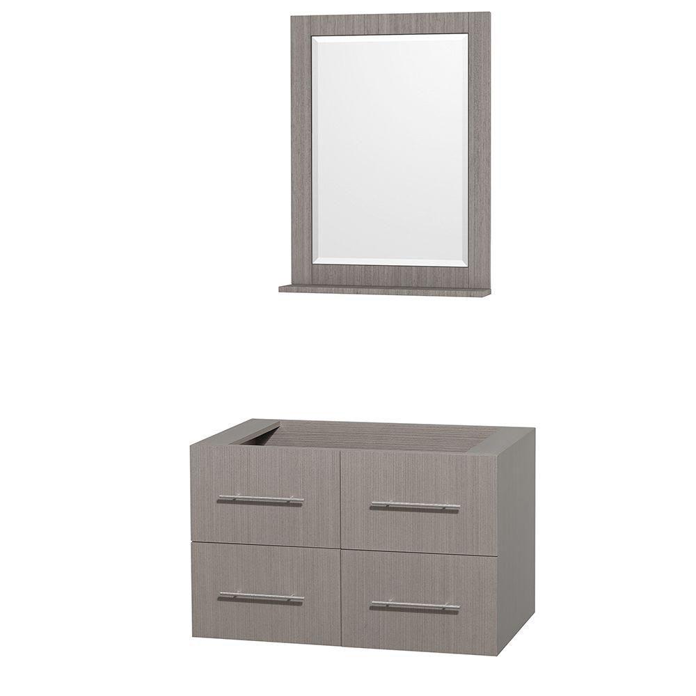 Centra 36-Inch  Vanity Cabinet with Mirror in Grey Oak