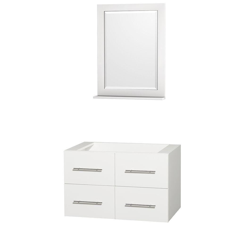 Meuble unique Centra 36 po. blanc sans comptoir ni lavabo, un miroir 24 po.