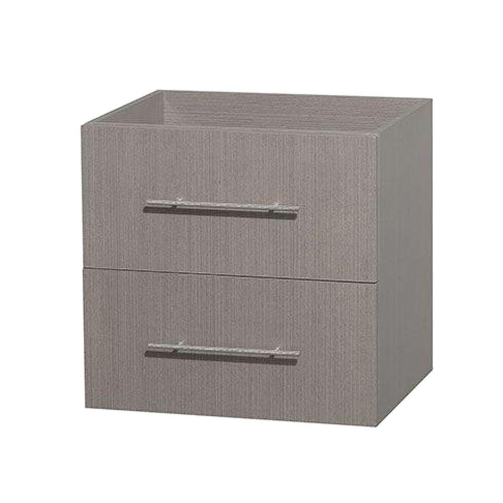 Meuble unique Centra 24 po. chêne gris sans comptoir ni lavabo ni miroir