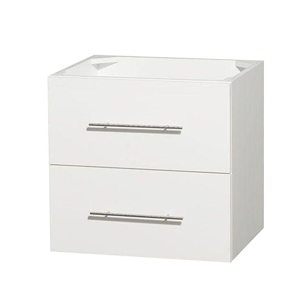 Meuble unique Centra 24 po. blanc sans comptoir ni lavabo ni miroir