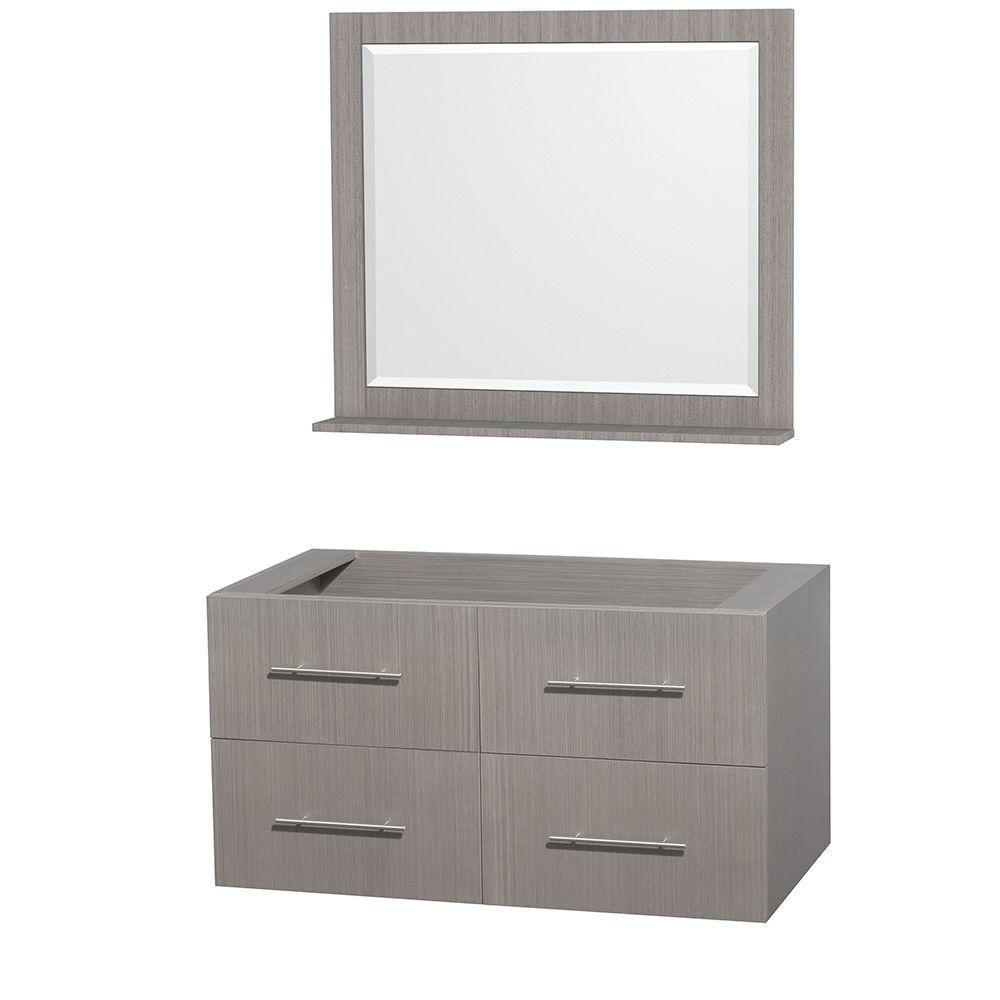 Centra 42-Inch  Vanity Cabinet with Mirror in Grey Oak