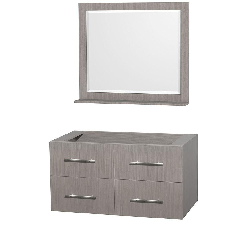Wyndham Collection Centra 42-Inch  Vanity Cabinet with Mirror in Grey Oak