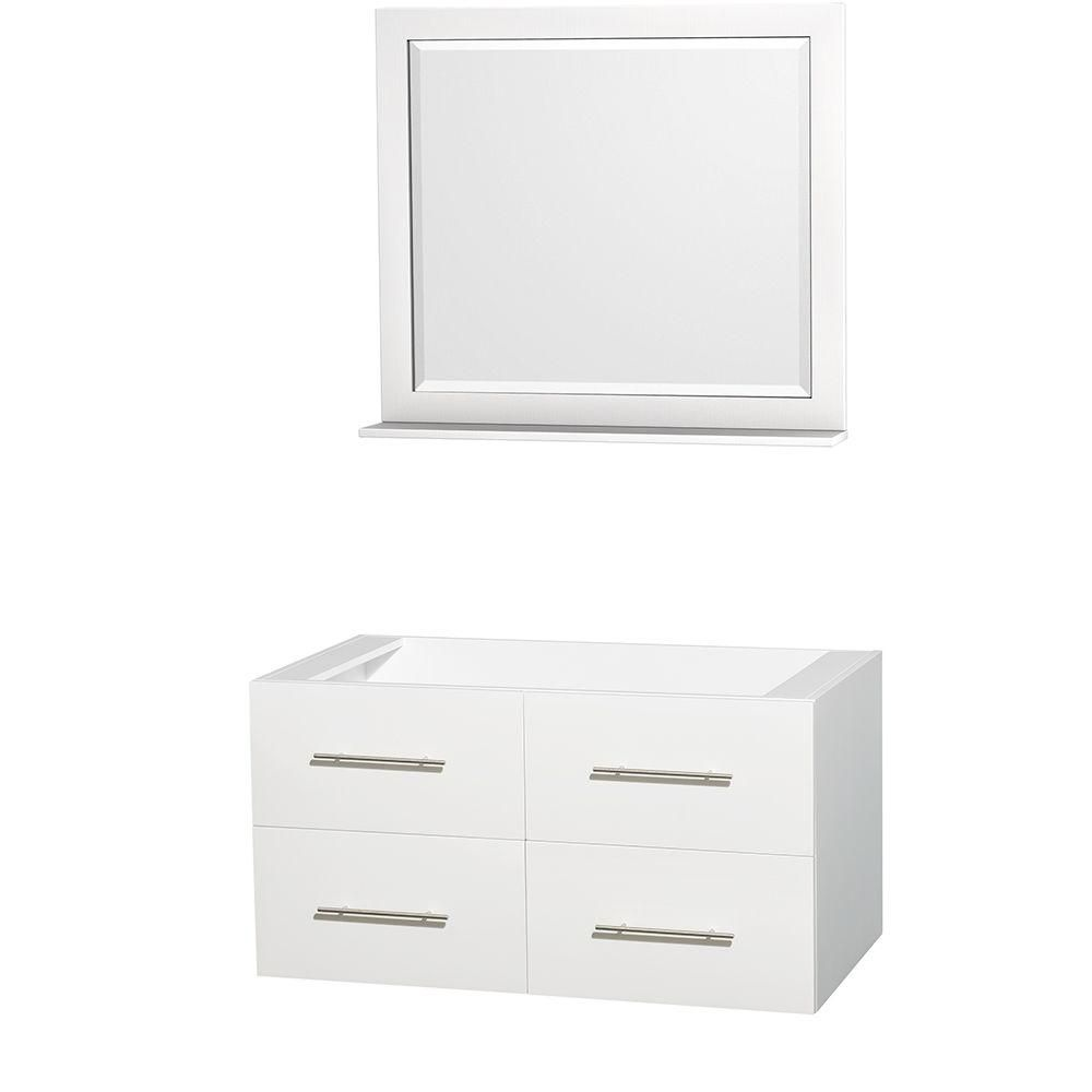 Meuble unique Centra 42 po. blanc sans comptoir ni lavabo, un miroir 36 po.