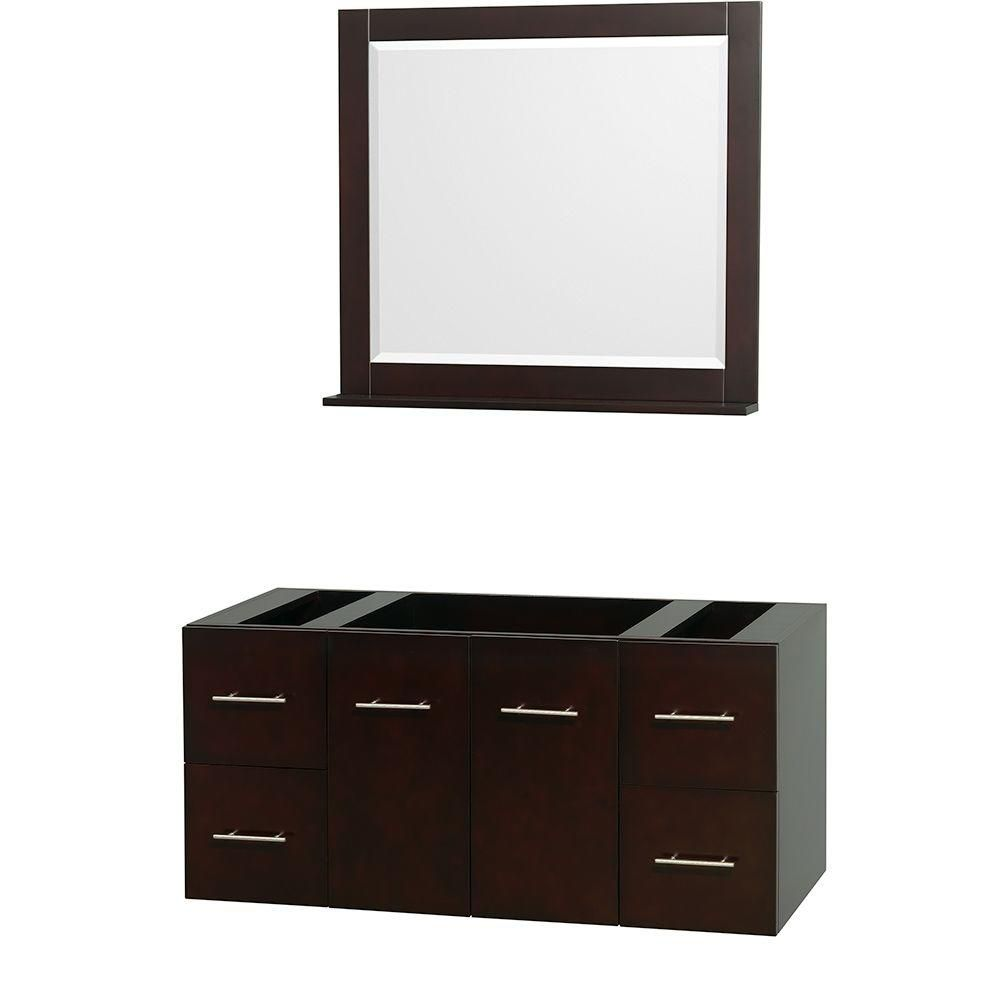 Centra 48-Inch  Vanity Cabinet with Mirror in Espresso