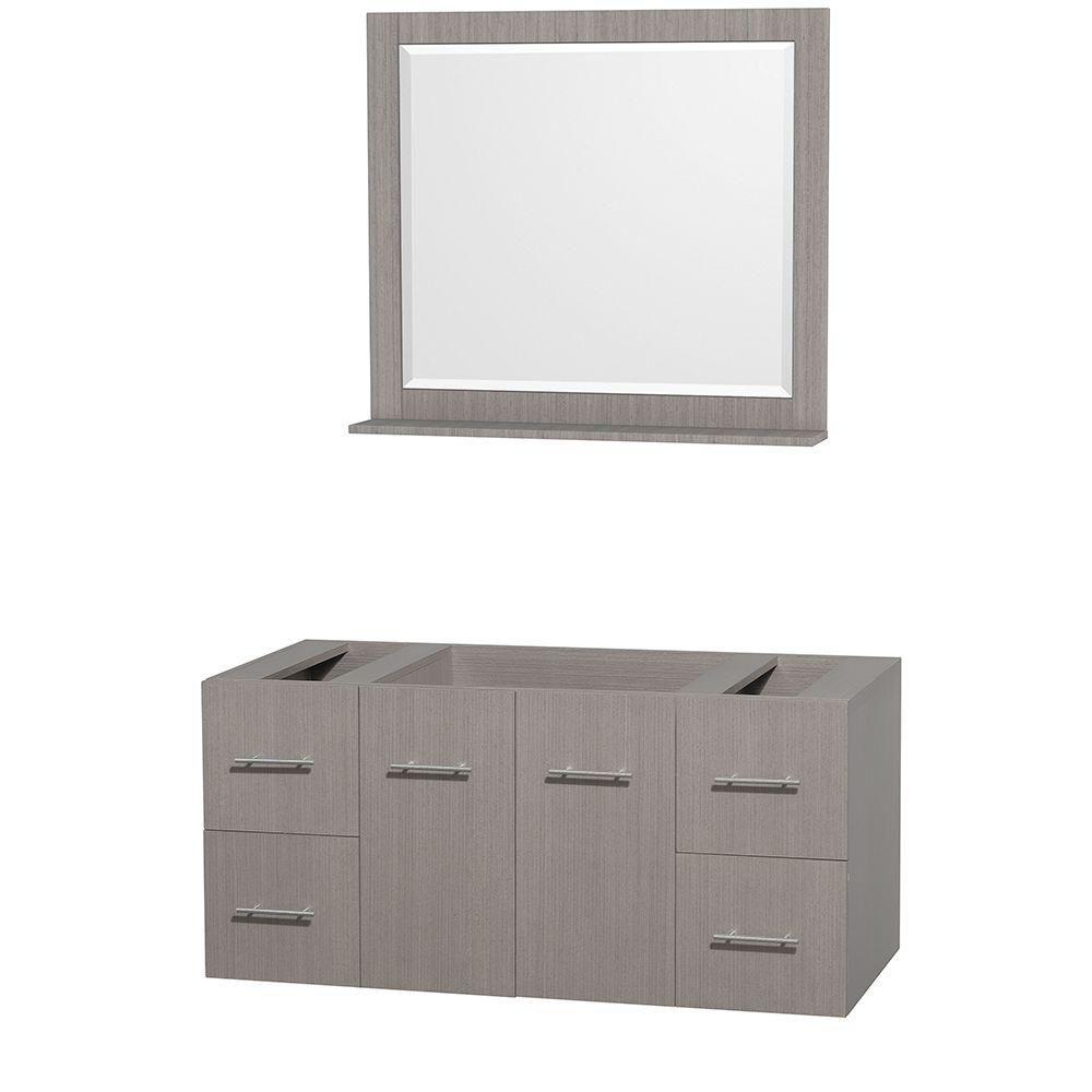 Centra 48-Inch  Vanity Cabinet with Mirror in Grey Oak