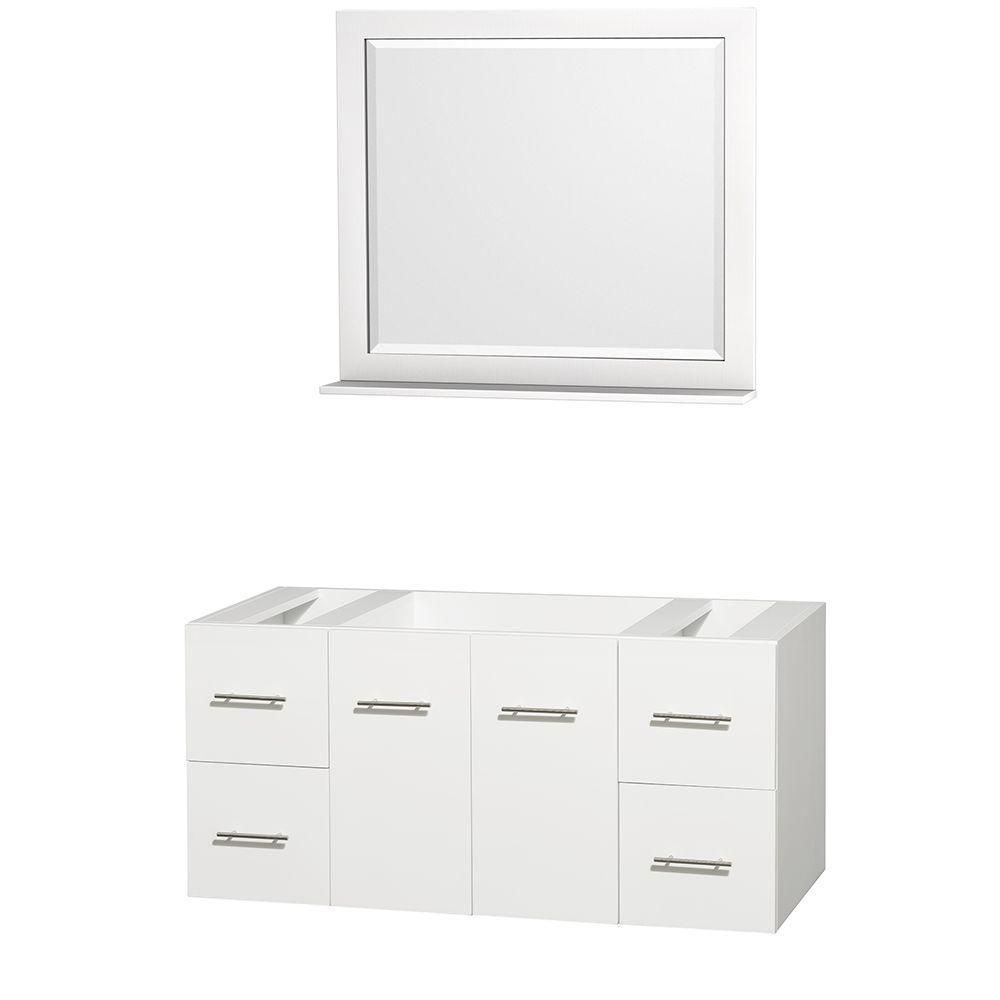 Centra 48-Inch  Vanity Cabinet with Mirror in White