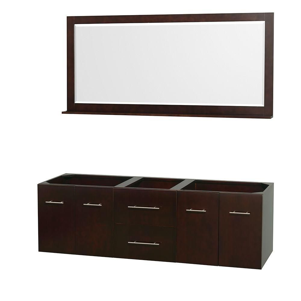 Centra 72-Inch  Double Vanity Cabinet with Mirror in Espresso