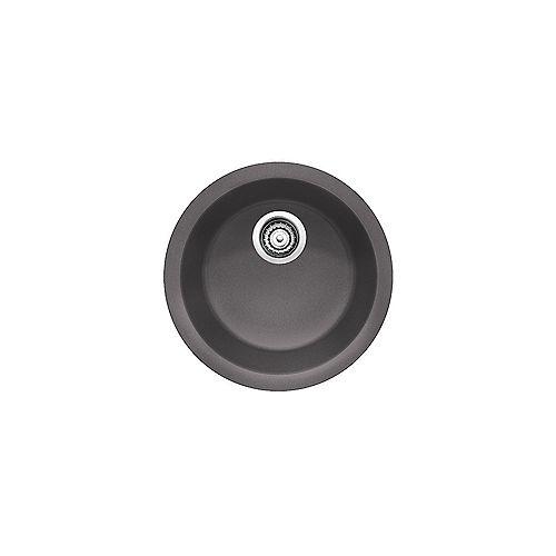 Blanco BLANCORONDO, Round Single Bowl Drop-in Kitchen Sink, SILGRANIT Cinder