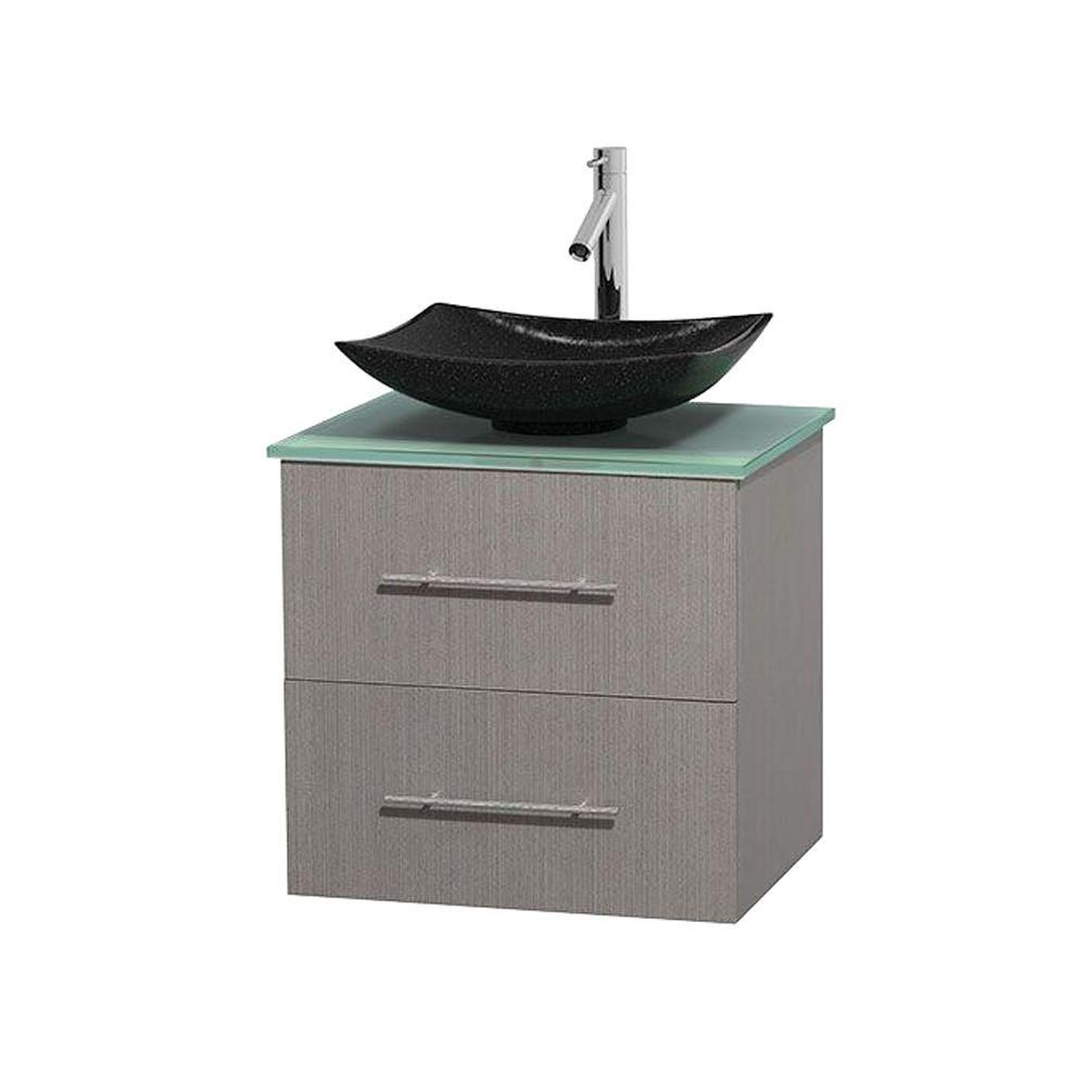 Centra 24-inch W Vanity in Grey Oak with Glass Top with Black Basin