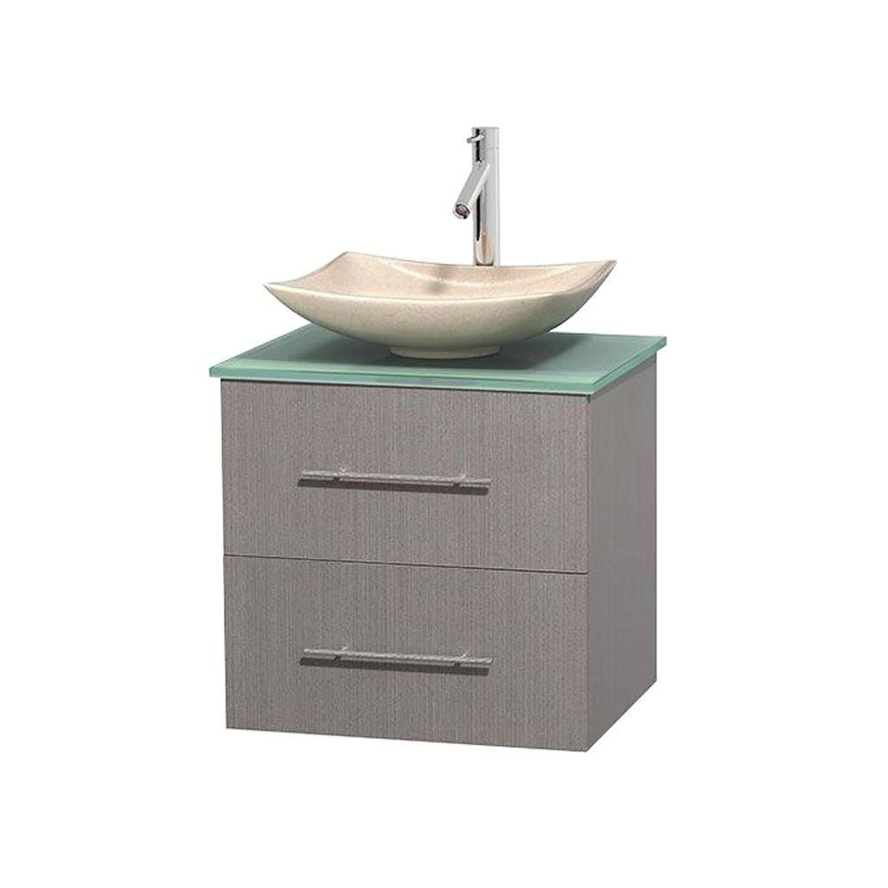 Centra 24-inch W Vanity in Grey Oak with Glass Top with Ivory Basin