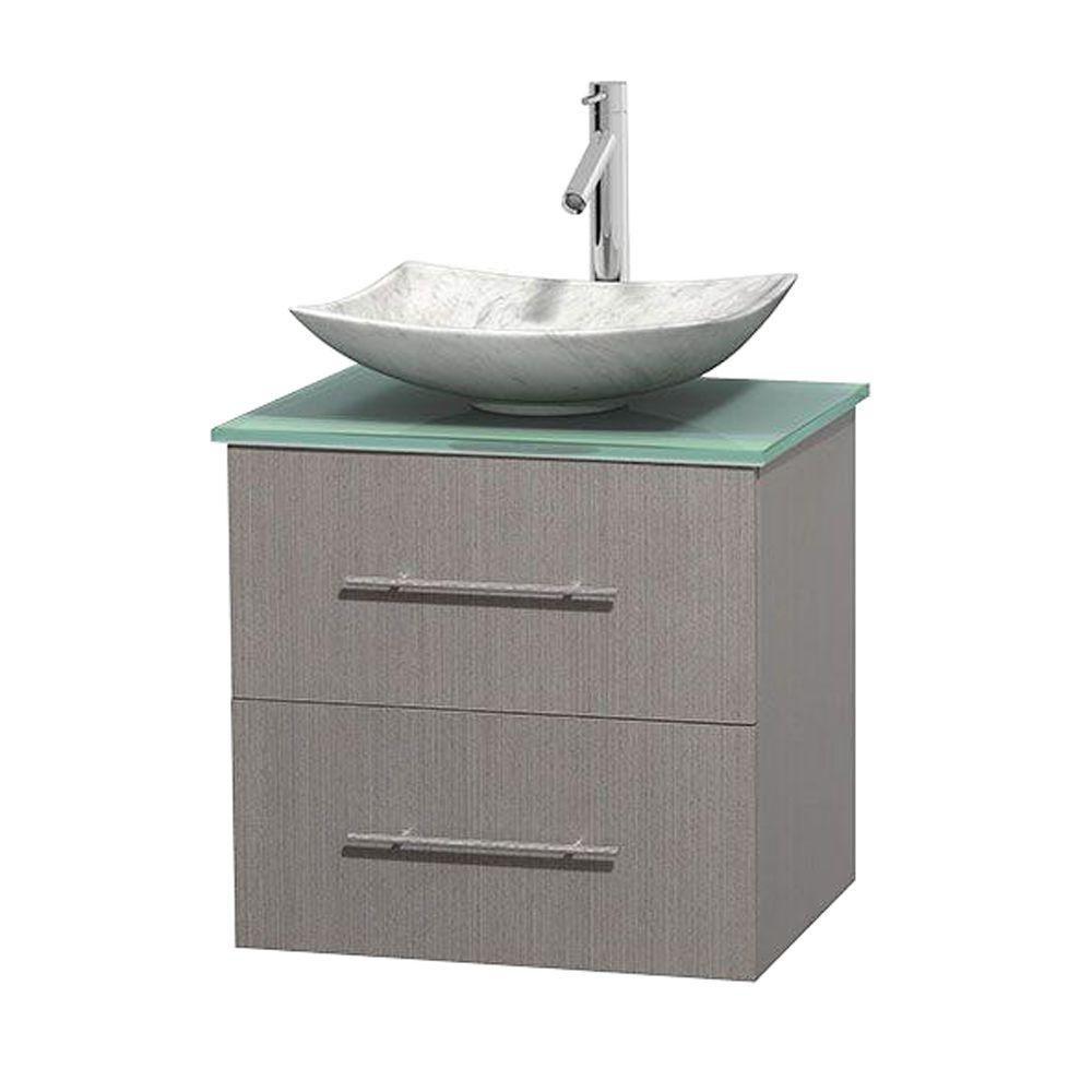 Meuble simple Centra 24 po. chêne gris, comptoir verre vert, lavabo blanc Carrare, sans miroir