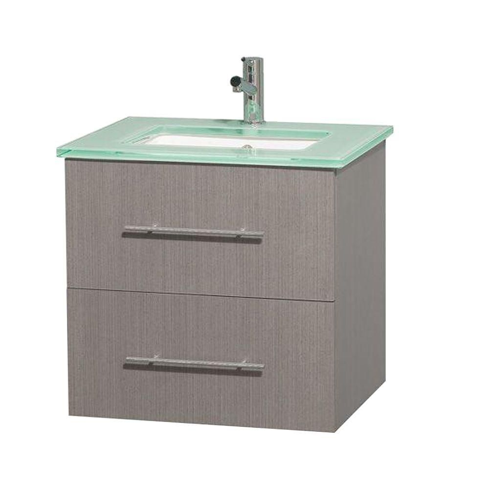 Centra 24-inch W Vanity in Grey Oak with Glass Top with Square Basin